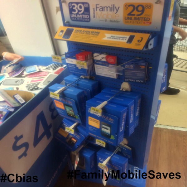 The stand that has phones, starter kits, sim cards and extras packs. #cbias #shop #FamilyMobileSaves