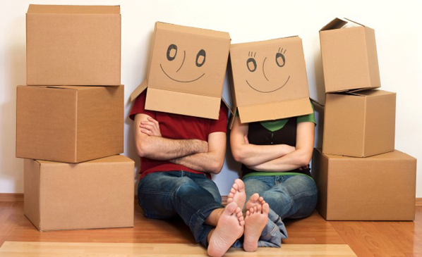 Couple with Boxes on Head