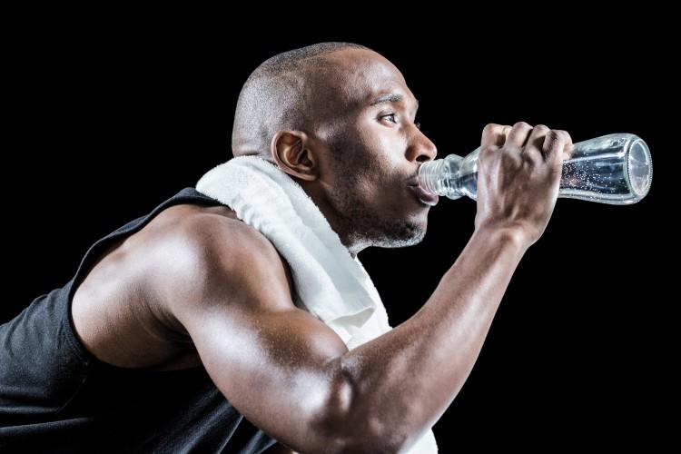 Man Drinking Water For Diet