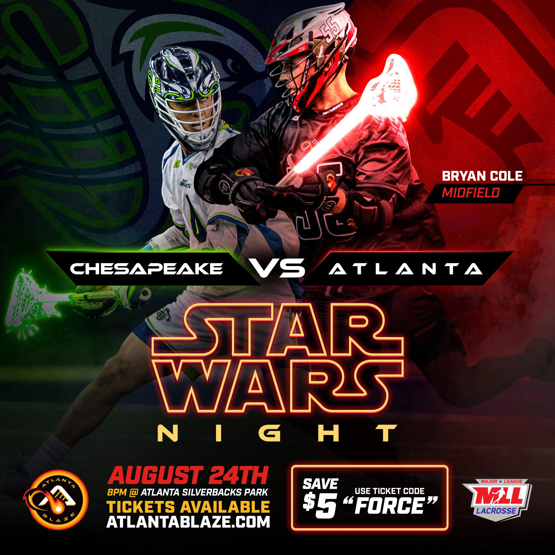 Atlanta Blaze Hosting 'Star Wars Night' on Aug. 24